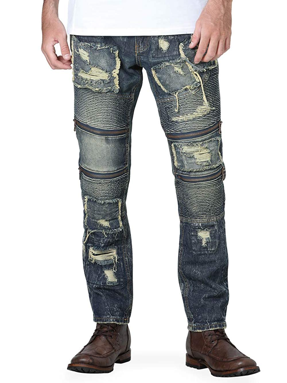 Centenario Mens Cowboy Denim Jeans Color Olive Indigo