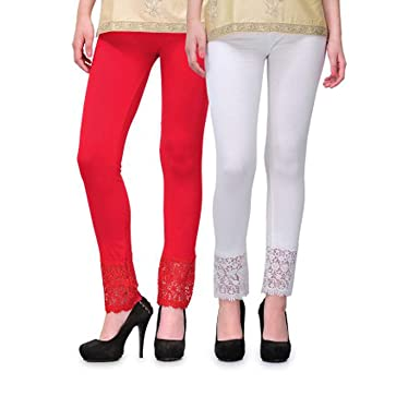 54d55ec0850fea Pixie® Designer Bottom Lace Leggings (Red, White) - Free Size: Amazon.in:  Clothing & Accessories