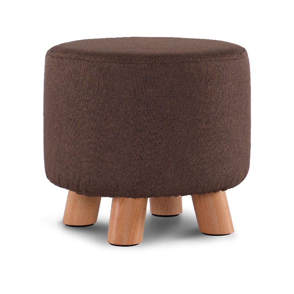 Brown SYKONG Solid Wood shoes Bench Fashion shoes Stool Creative Square Stool Fabric Stool Stool Sofa Stool Coffee Table Bench Home Stool Upholstered Footstool Linen Round Pouffe Chair Multifunction