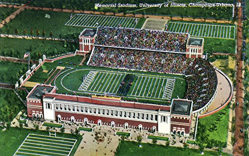 Champaign-Urbana, Illinois - University of Illinois; Aerial View of Memorial Stadium (12x18 Art Print, Wall Decor Travel Poster)