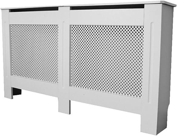 Wellgarden Armario para radiador de Madera MDF Blanca Pintada en Color Blanco con diseño de Diamante, Blanco, Extra Large