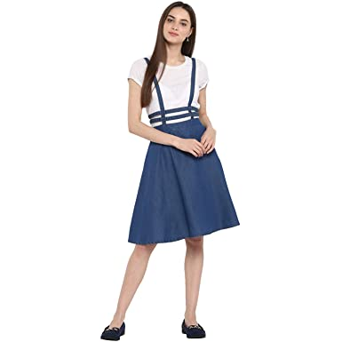 e9b2b914531d StyleStone (3329WaistThinStrap Women's Denim Pinafore Skirt Dress ...