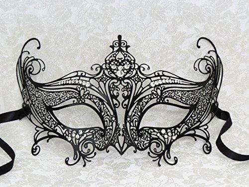 Gossip Girl Black Laser Cut Metal Venetian Mask with Real Crystals for Women (Satin Gossip Girl)