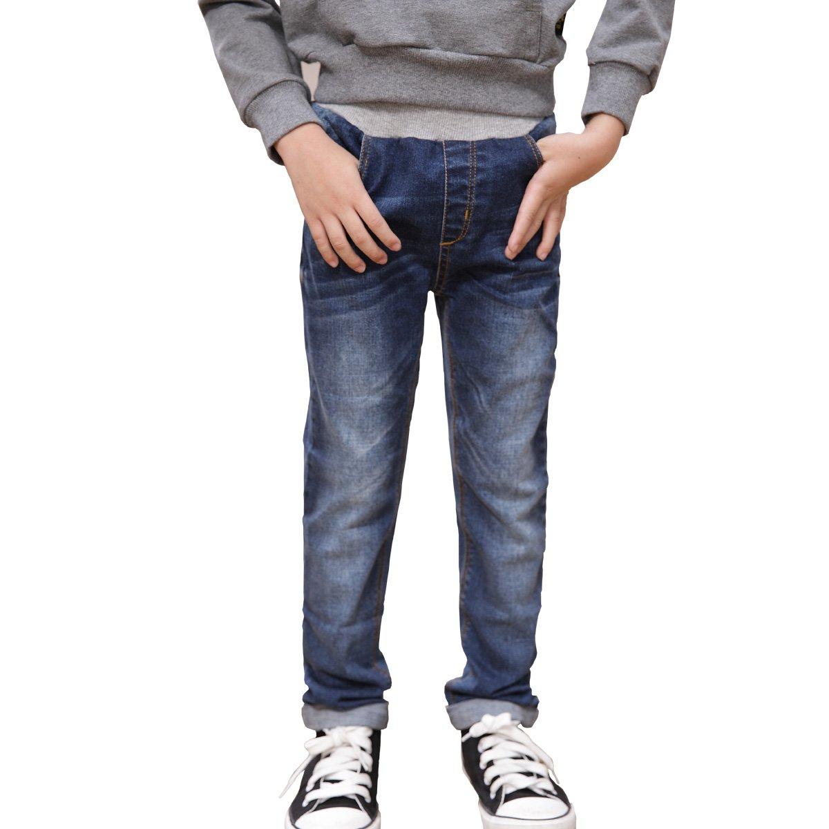 NABER Kids Boys Casual Elastic Waist Denim Pants Blue Washed Jeans Age 4-13 Yrs