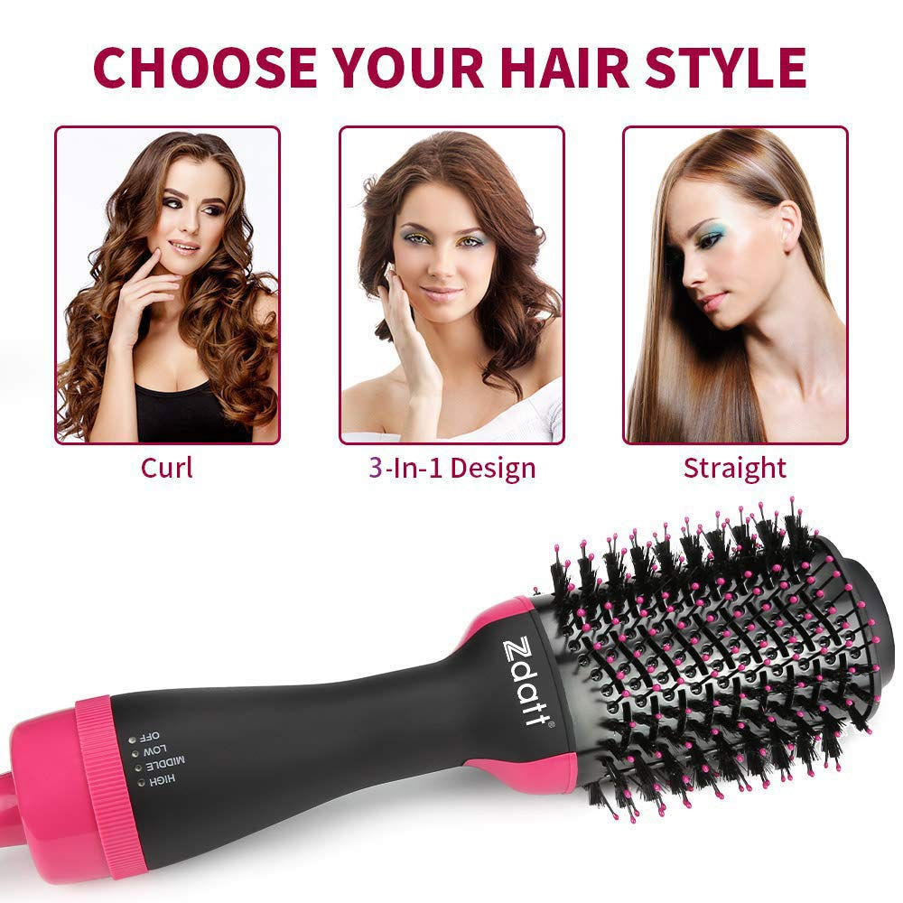 ZDATT Hot Air Hair Brush & Volumizer, 3-in-1 Salon Styling Hair Dryer and Styler, Negative Ion Straightening Brush Curl Brush, Multi-functional for Straight & Curly Hair. UL Swivel Wire b by ZDATT (Image #2)