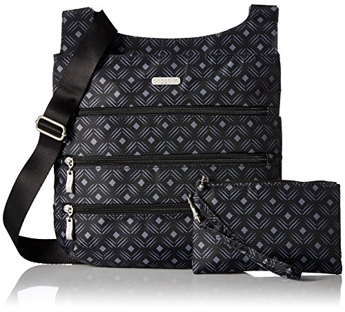 Black Luggage Bag Print Big Zipper Baggallini Diamond FCItnwwqd
