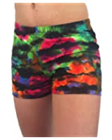 Red and Blue Aurora Spandex Shorts (4 In. Adult S 4-6, Red and ...