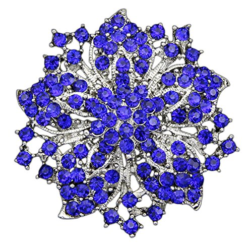 (Danbihuabi Silver/gold Plated Vintage Crystal Rhinestone Brooch Pin 7 Colors (silver plated royal blue))