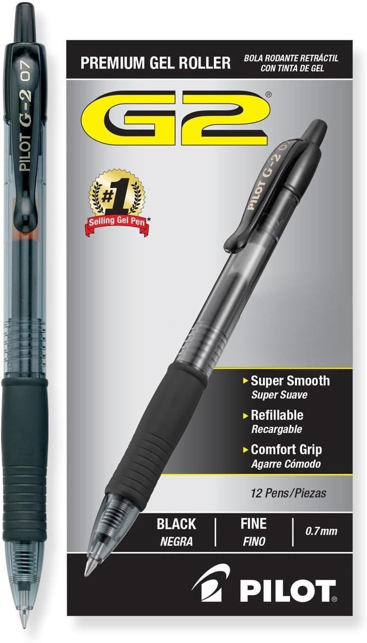 Dozen per Box One Box of Black and One Box of Blue Pilot G2 Pen SET:G2 Retractable Premium Gel Ink Roller Ball Pens Fine Point