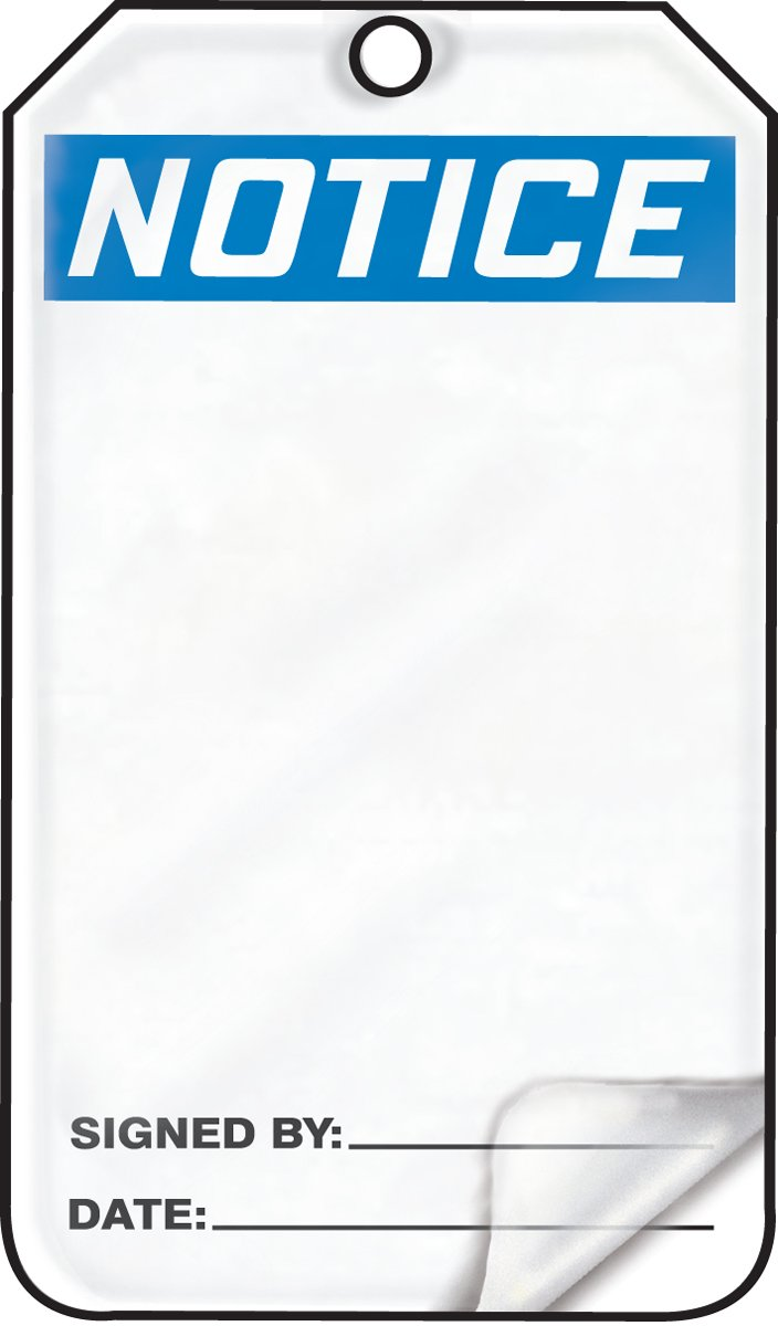 """Accuform MNT101LTP HS-Laminate Safety Tag, Legend""""Notice (Blank)"""", 5.75"""" Length x 3.25"""" Width x 0.024"""" Thickness, Blue/Black on White (Pack of 25) 61rrHrQ0seL"""