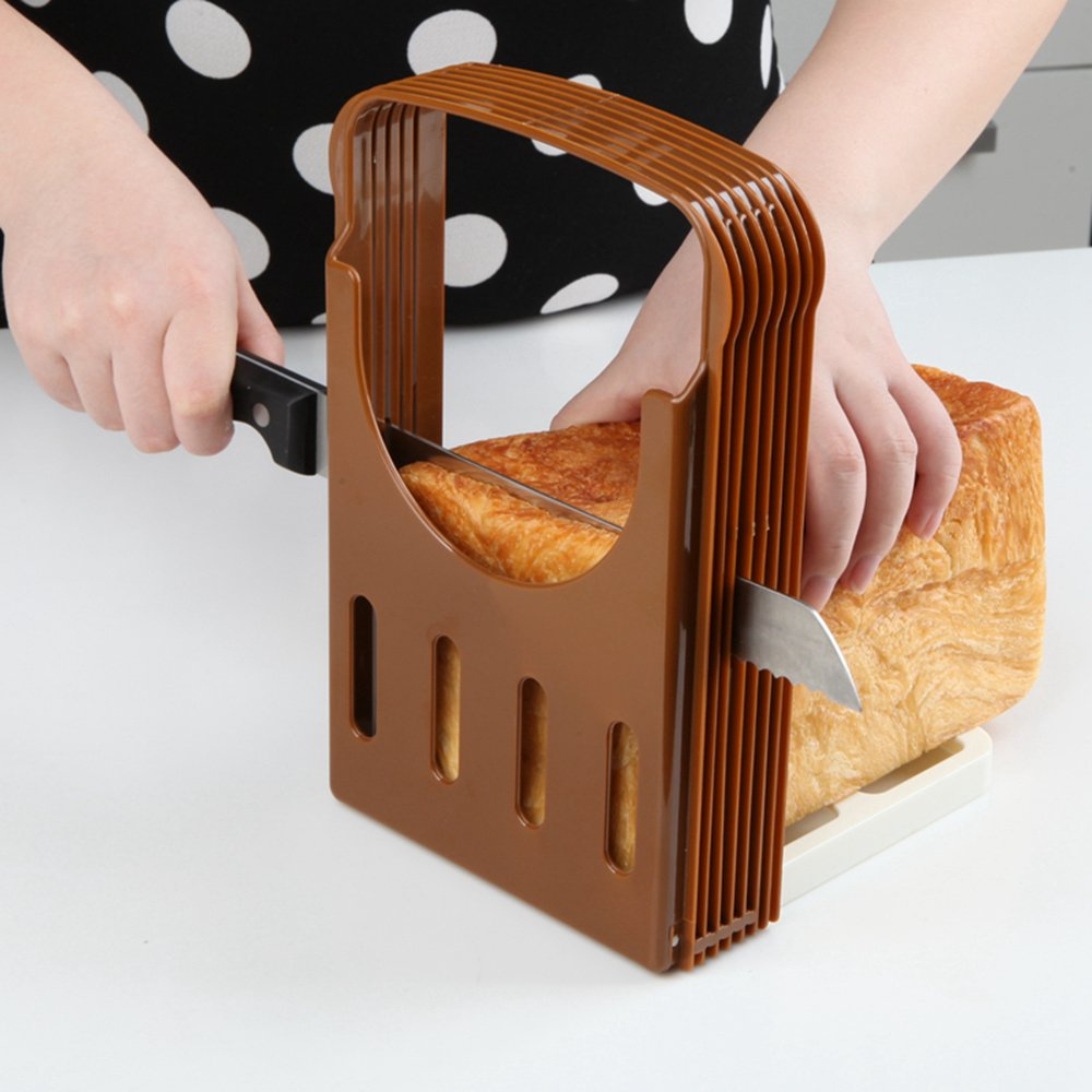 Kitchen Utensils And Tools Folding and Adjustable Bread Sandwich Bagel Slicer Yummy Sam Toast Slicer Machine Maker Homemade Cutter with 4 Thinknesses. (Brown) Yinoinge Inc.
