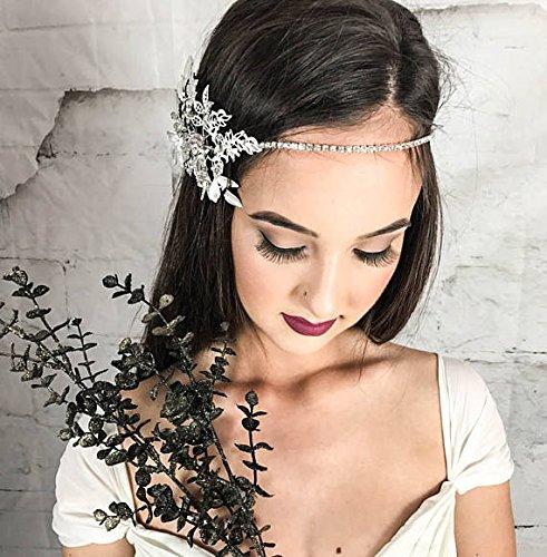 Forehead Bridal Headband, Wedding Head chain, floral halo, hair comb, vintage hair accessories, halo for the bride