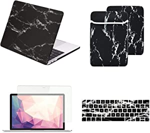 TOP CASE MacBook Pro 13 inch Case 2019 2018 2017 2016 Release A2159 A1989 A1706 A1708, 4 in 1 Essential Bundle Marble Pattern Hard Case, Keyboard Cover, Screen Protector, Sleeve-Marble Black