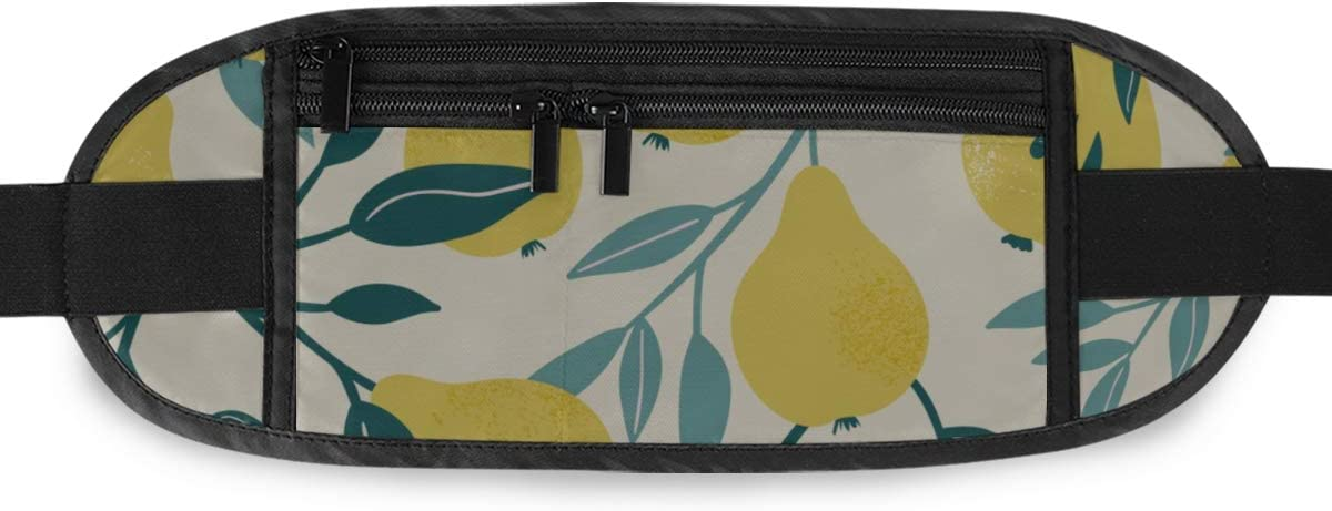 Pattern Yellow Pear Fruit Running Lumbar Pack For Travel Outdoor Sports Walking Travel Waist Pack,travel Pocket With Adjustable Belt