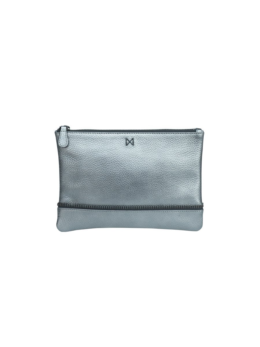 SAGE Flat Pebble Leather Pop of Color Pouch-Style Clutch with Zipper Trim Details