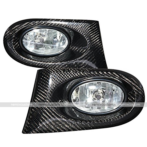 02 03 04 Acura RSX DC5 Real Carbon Fiber Clear Fog Lamp Lights Kit