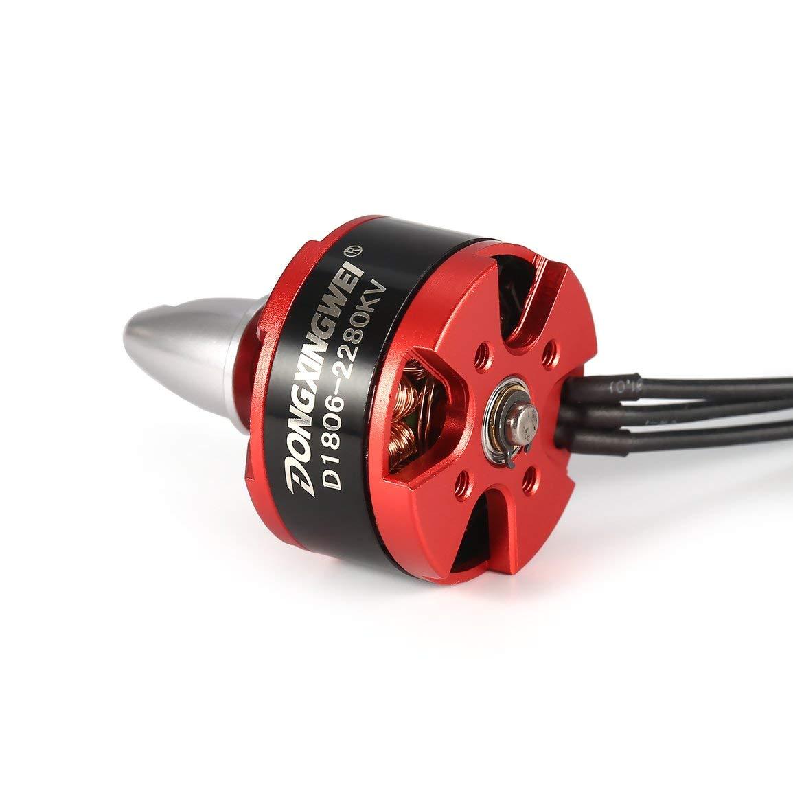 Couleur: Noir /& Rouge 4pcs CW CCW D1806 2280KV 2-3S moteur /électrique sans balai pour 250 260mm RC Racing Drone Quadcopter Multicopter a/éronef