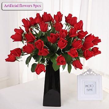 MEIWO 8 Pcs Real Touch Látex Artificial Crimping Rosas Flor para El Boda Casero Fiesta Decoración Decoración Arreglo(Rojo): Amazon.es: Hogar