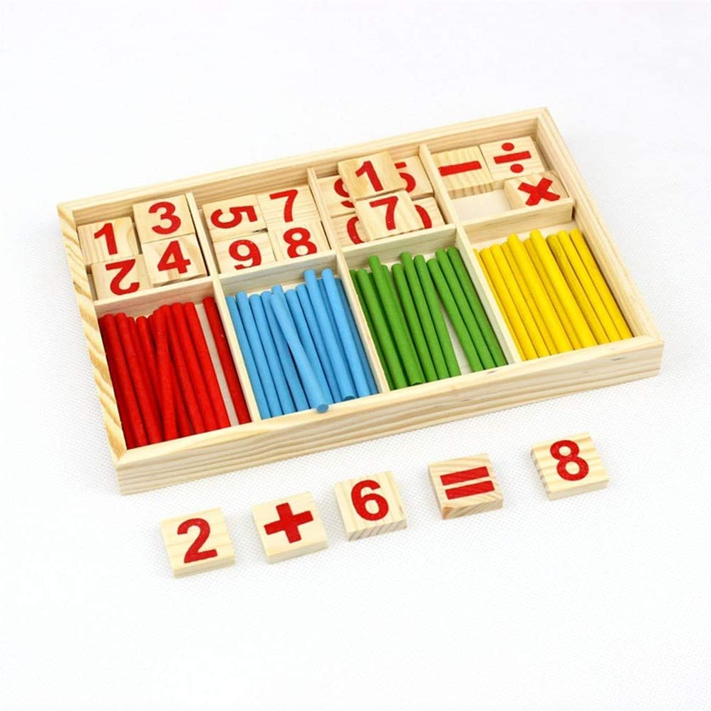 Gobus Wooden Counting Sticks Maths Number Blocks with Box Children Learning Toys