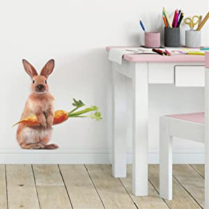 Lifelike Lovely Rabbit Holding Carrot Animal 3D Vinyl Wall Stickers Removable Bunny Wall Decals Art Decorations Decor for Nursery Baby Bedroom Playroom Living Room Murals