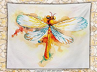 Watercolor Decor Fleece Throw Blanket Hand Drawn Dragonfly Figure with Hazy Paintbrush Effect Spiritual Artwork Throw Orange Blue