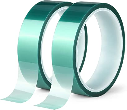 Ideal for Painting Circuit Boards Green,2 inches X 82 Feet) Anodizing Powder Coating 2 Roll Polyester High Temperature Masking Tape PET Tape with Silicone Adhesive