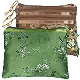 kilofly Chinese Silk Brocade 3 Zipper Pockets Jewelry Pouch Bag, Set of 2