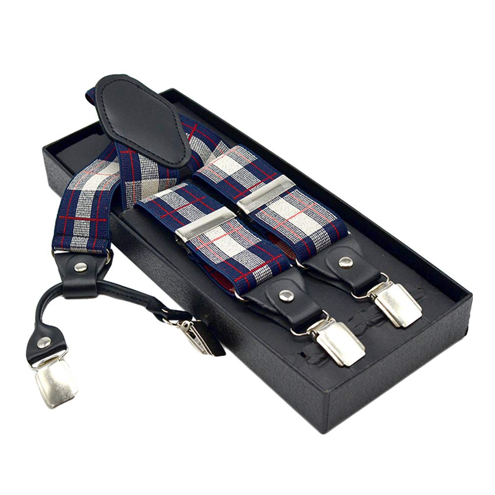 SupSuspen Mens Y Shape Suspenders 1.4 Inch Width Heavy Duty Braces with 4 Clips