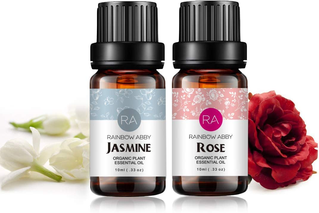 Rose Jasmine Essential Oil Set Aromatherapy 100% Pure Organic Oils ...