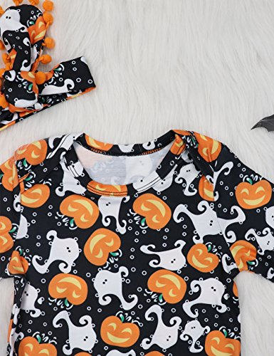My First Halloween Outfit Sets Newborn Pumpkin Bodysuit with Headband Baby Girls Clothes(0-3M by Okgirl (Image #3)