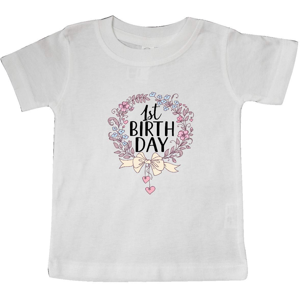 inktastic 1st Birthday Floral Wreath 1 Year Old Baby T-Shirt