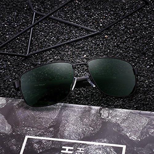 Rectangulaire Noir Conduite Polarisé Aviateur Polarisé en Lentilles Homme Monture de Soleil Femme Solaires Lunettes Métal Lunettes Vert qSP6UT