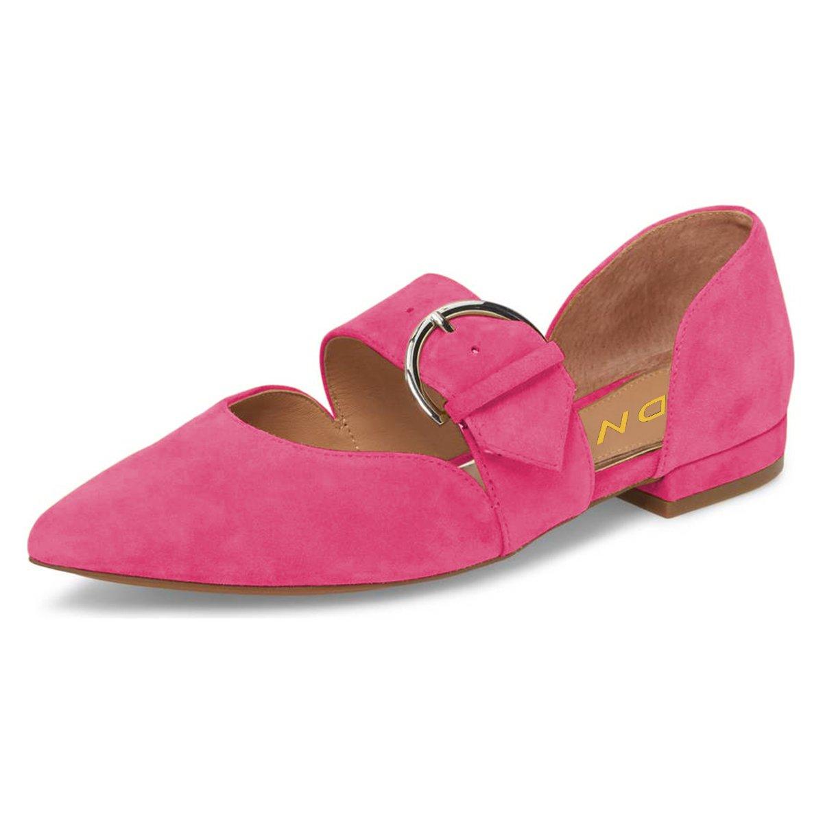 YDN Women's Pointed Toe Mary Jane Flats Slip On D'Orsay Pumps Low Heels Office Shoes B07B4FCH95 5 B(M) US|Fuchsia