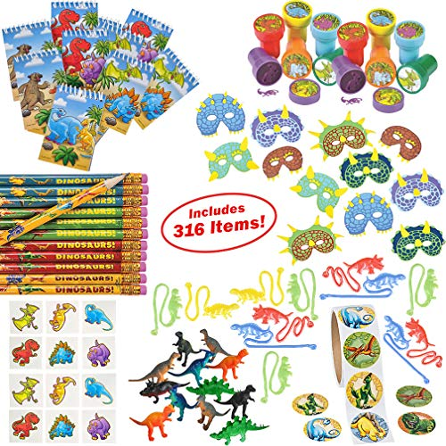 Dinosaur Party Supplies for Boys Girls 316 Piece | Dinosaur Birthday Decorations and Kids Party Favors for 12 Children | Toys, Stickers, Figures, Masks, Tattoos, Stampers | Mr. E=mc² Birthday Supplies ()