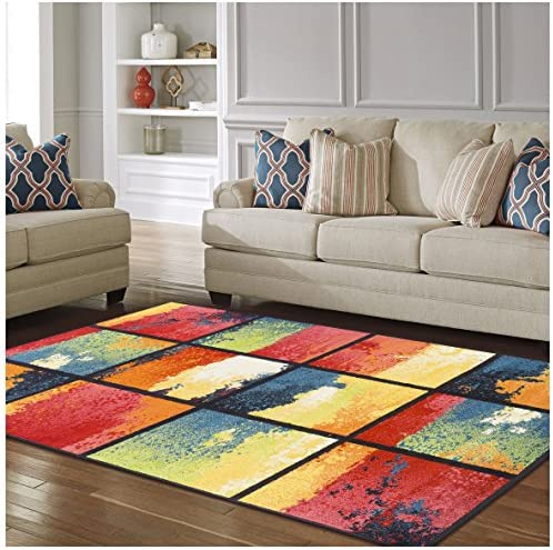 Superior Painted Cubes Collection, 6mm Pile Height with Jute Backing, Quality and Affordable Area Rugs, 8 x 10 Multi Color