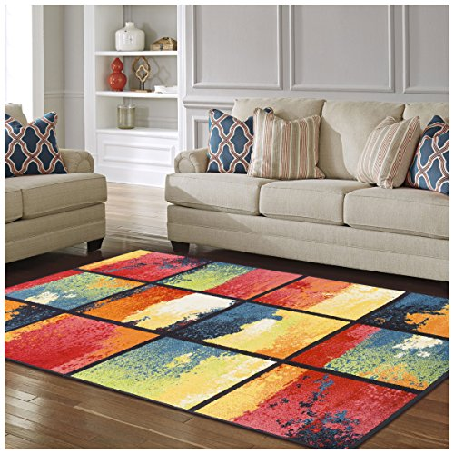 Superior Painted Cubes Collection, 6mm Pile Height with Jute Backing, Quality and Affordable Area Rugs, 5 x 8 Multi Color