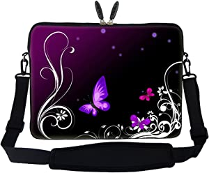 Meffort Inc 15 15.6 inch Neoprene Laptop Sleeve Bag Carrying Case with Hidden Handle and Adjustable Shoulder Strap - Dark Purple Butterfly