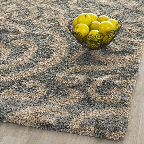 India House Black Rectangle Rug - Safavieh Florida Shag Collection SG462-8013 Grey and Beige Area Rug (3'3