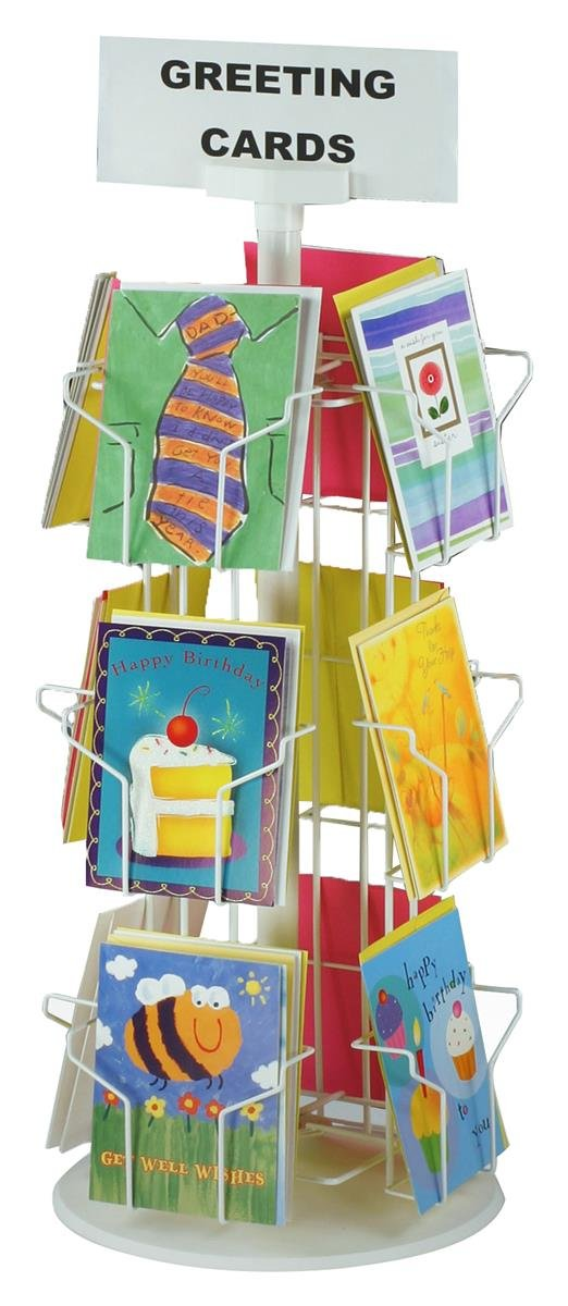 Greeting Card Racks with (12) 5 x 7 Pockets for Counter Displays, 29 inches Tall - White Wire Construction with Plastic Base by Displays2go