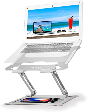 Black Urmust Adjustable Laptop Stand for Desk Aluminum Computer Stand for Laptop Riser Holder Notebook Stand Compatible with MacBook Air Pro Ultrabook All Laptops 11-17 inch