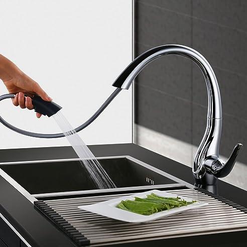 Homelody Chrom Wasserhahn Küche Ausziehbar Küchenarmatur Brause