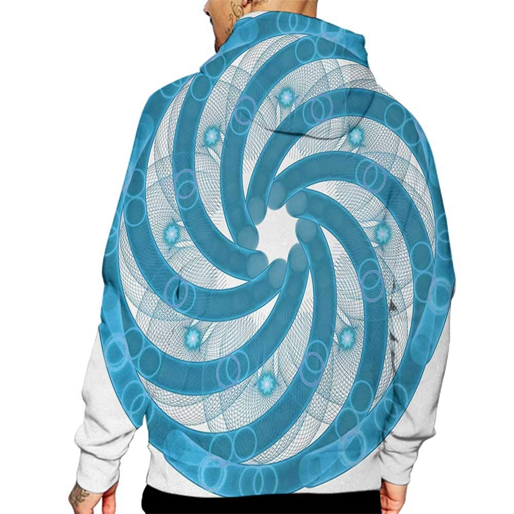 Hoodies Sweatshirt/ Men 3D Print Spires,Computer Rendered Abstract Fractal Design Rotary Turning Futuristic Hole Tube Whirl Design,Blue Sweatshirts for Teen Girls