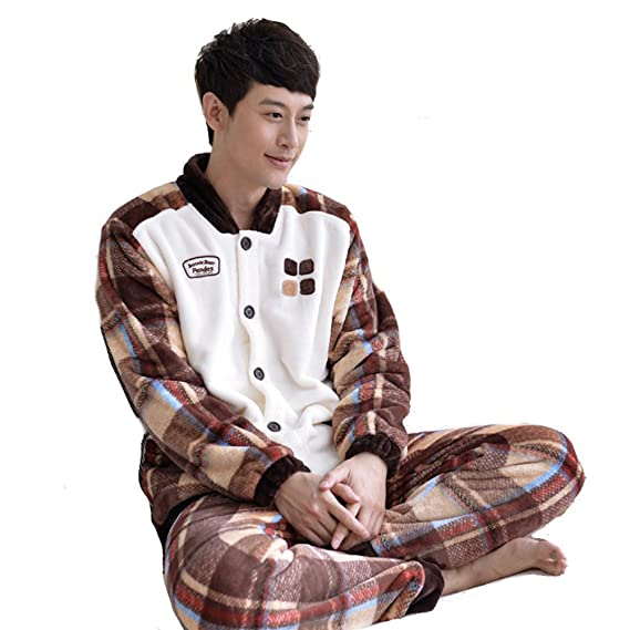 Image Unavailable. Image not available for. Colour  WANGWO Couples Flannel  Pajama Set White Brown Winter Warm Home Sleepwear ea4fb8a90