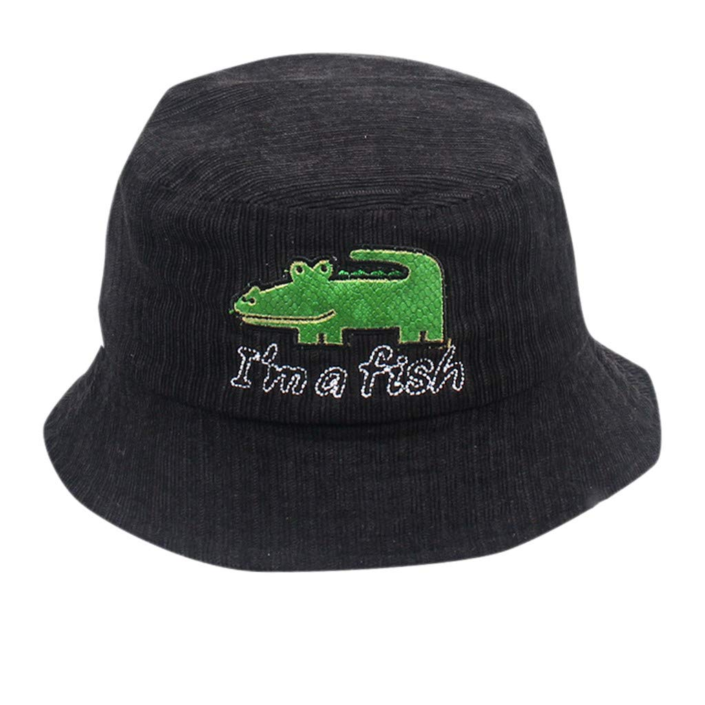 Cute Baby Girl&Boy Sun Hats,Crocodile Cartoon Fisherman Captain Hat,Kids Sun Protection Bucket Hat (Black)