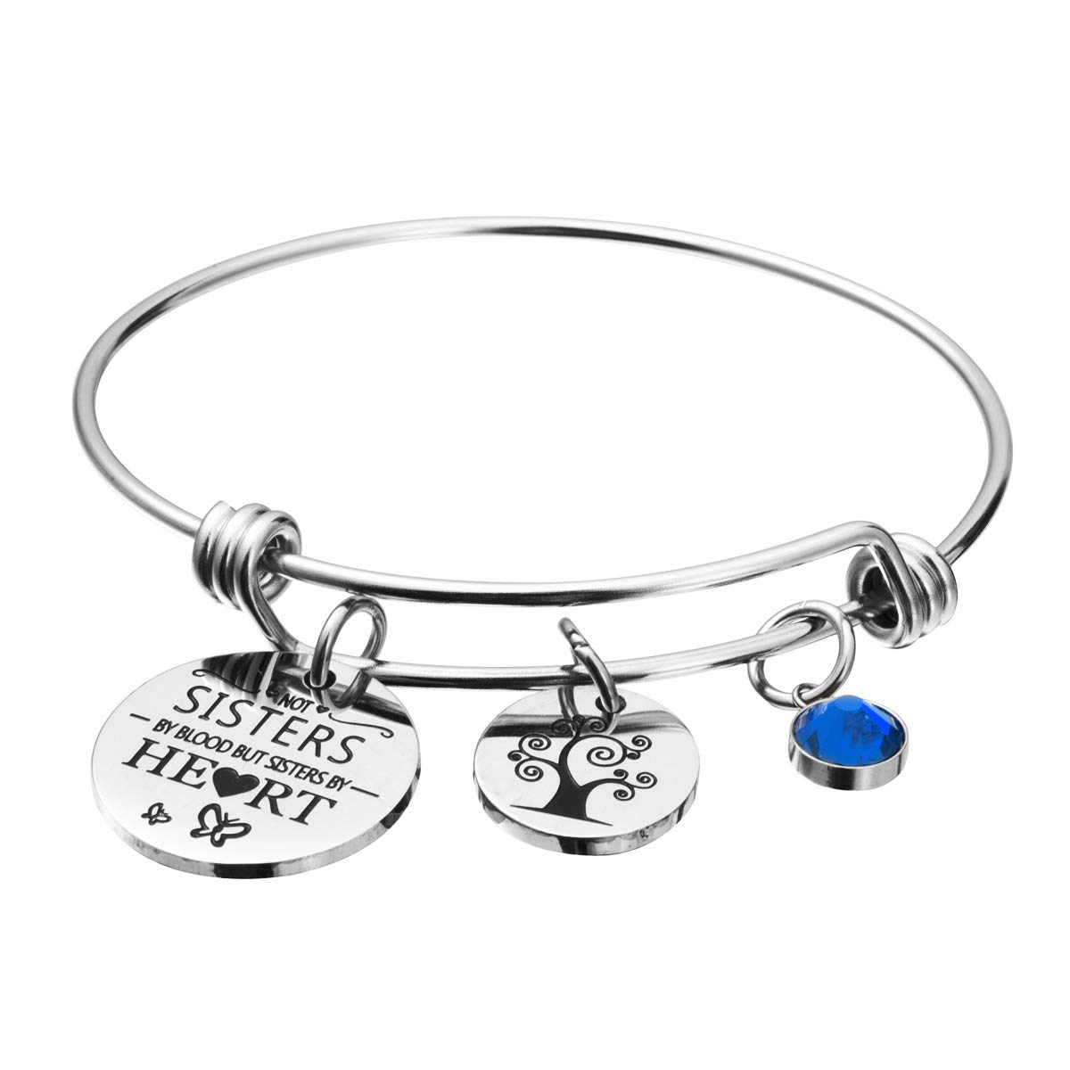 omodofo Best Friends Birthstone Bracelet - Not Sister By Blood But Sister By Heart Friendship Inspirational Charm Cuff Bangle Sister Jewelry Graduation Gifts (September) by omodofo (Image #1)