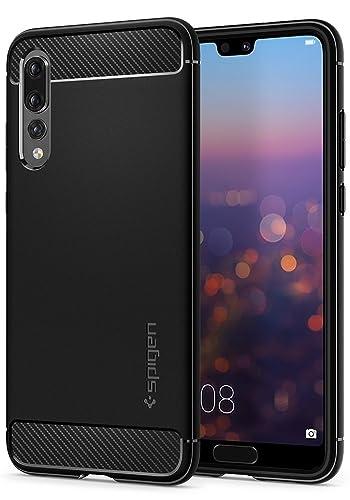 Huawei P20 PRO Case, Spigen [Rugged Armor] Original Carbon Fiber Design Shock Absorption Air Cushion Technology Drop Protection Phone Case Cover for Huawei P20 PRO (2018) Black L23CS23083