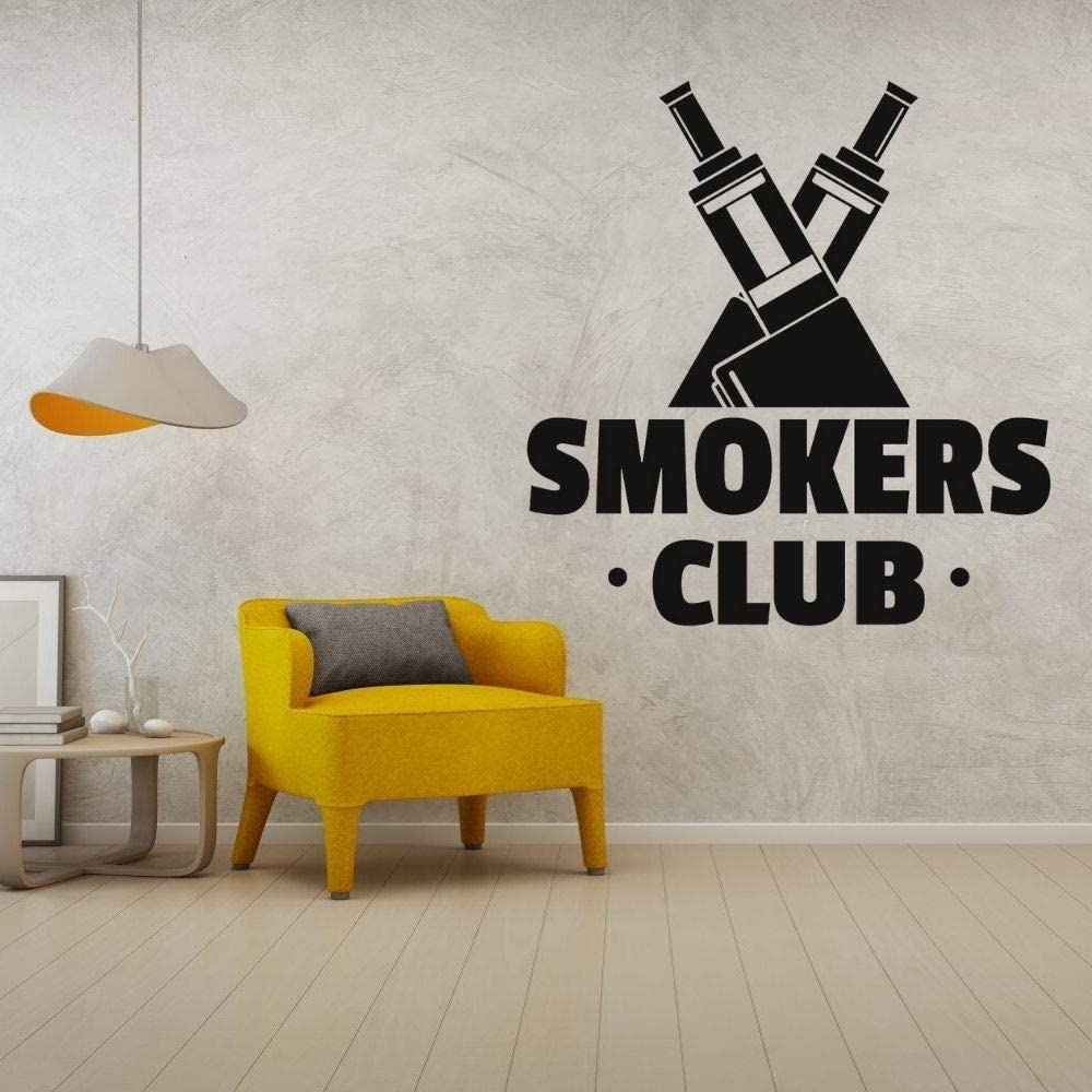 wZUN Smoker Club Cigarrillo electrónico Silueta Arte de la Pared calcomanía de Vinilo diseño de Etiqueta para la decoración de la Tienda 57X60 cm
