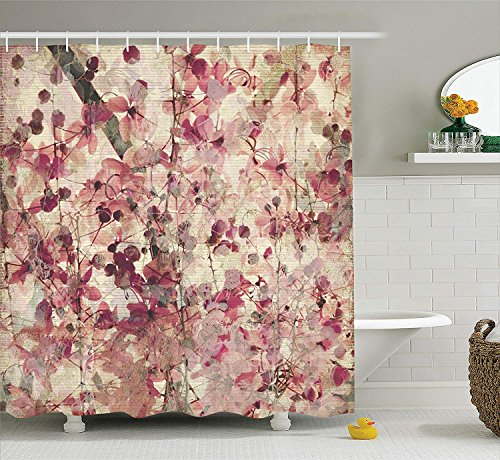 Sonernt Curtain Flower Antique Grungy Effect Cherry Blossoms on Ribbed Bamboo Retro Background Floral Art Work Pink Beige Shower Curtain Bathroom Decor,Polyester Mildew Durable Waterproof Curtain