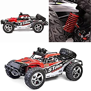 AHAHOO 1:12 Scale RC Cars 35MPH+ High Speed Off-Road Remote Control Vehicle 2.4Ghz Radio Controlled Racing Monster Trucks Rock Climber with LED Light Vision (Red)