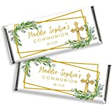 Christening Holy Cross in Blue for Communion Confirmation Baptism Chocolate Not Included Christening Religious Communion Set of 12 Baptism Candy Bar Wrappers for Chocolate Bar Favors